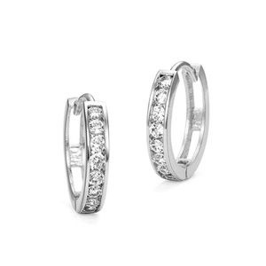 Other - Rhodium Plated Cubic Zirconia Channel Set Earrings